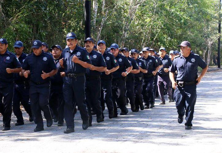 Los elementos de la policía municipal de Cozumel reciben entrenamiento constante. (Cortesía)