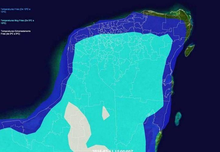 Gráfica de Meteorología Yucatán. En azul oscuro, las temperaturas pronosticadas de 10 a 15 grados para este jueves; en turquesa las de 5 a 10 grados, y en blanco las de 0 a 5 grados. (Facebook.com)