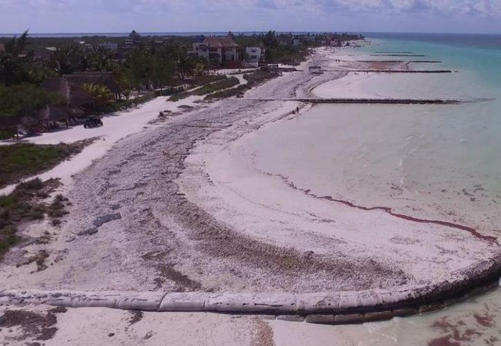 La función de esta barrera es aminorar el golpeteo de las olas y arrastre de la arena de la zona de playas. (Foto: Enrique Mena/SIPSE)