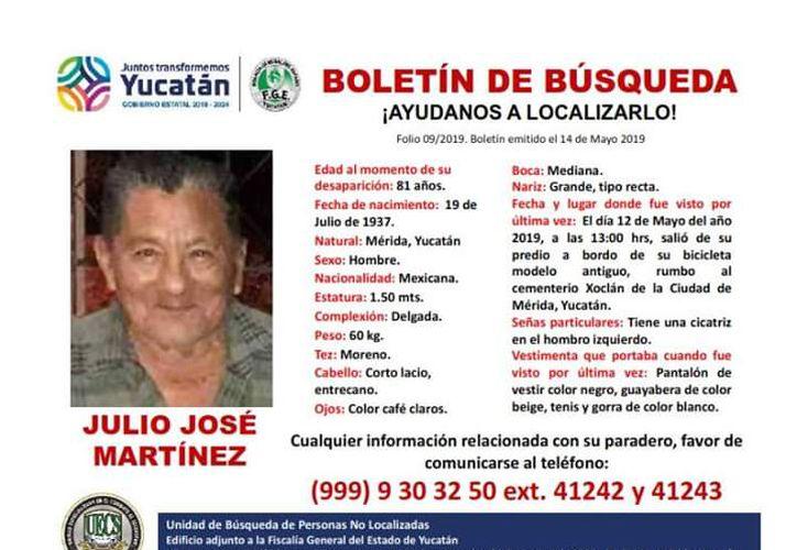 Don Julio José Martínez fue visto por última vez en el fraccionamiento Tixcacal Opichén (Foto: especial)