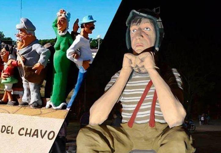 Las esculturas a 'El Chavo del 8' y otros personajes de Chespirito en Pilar, Argentina, generaron polémica por su alto costo. La imagen corresponde al monumento. (infonews.com)