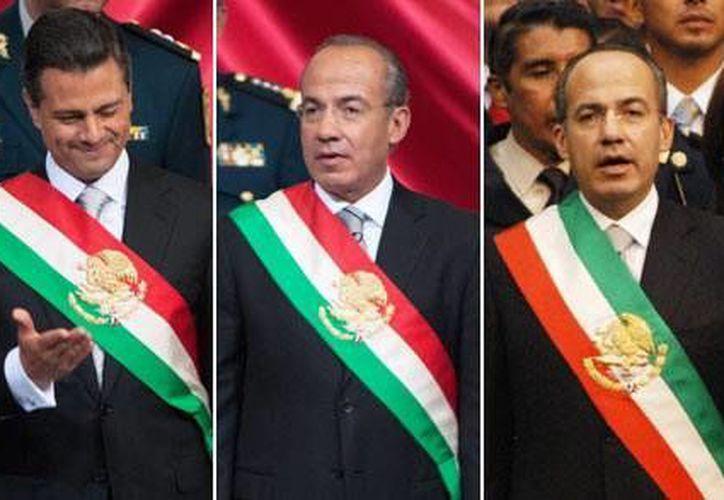 Con Felipe Calderón se aplicó el cambio del orden de los colores en la banda y así la recibió Peña Nieto. (Archivo)