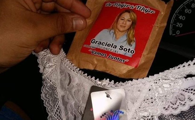 Una candidata a regidora, en Argentina, regaló tangas a cambio de obtener simpatizantes. (Twitter/@PeKa2016)