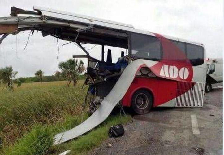 Restos del autobús siniestrado el jueves pasado. (Milenio Novedades)