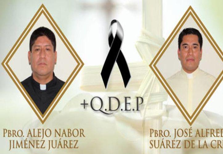 Imagen de los sacerdotes Alejo Nabor Jiménez Juárez y José Alfredo Juárez de la Cruz, quienes fueron privados de la vida en Veracruz. (Diócesis de Papantla)