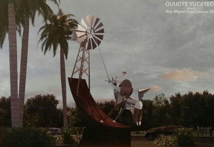 Imagen de cómo luciría la glorieta de 'El Quijote Yucateco', sobre la Avenida Cámara de Comercio. (Milenio Novedades)