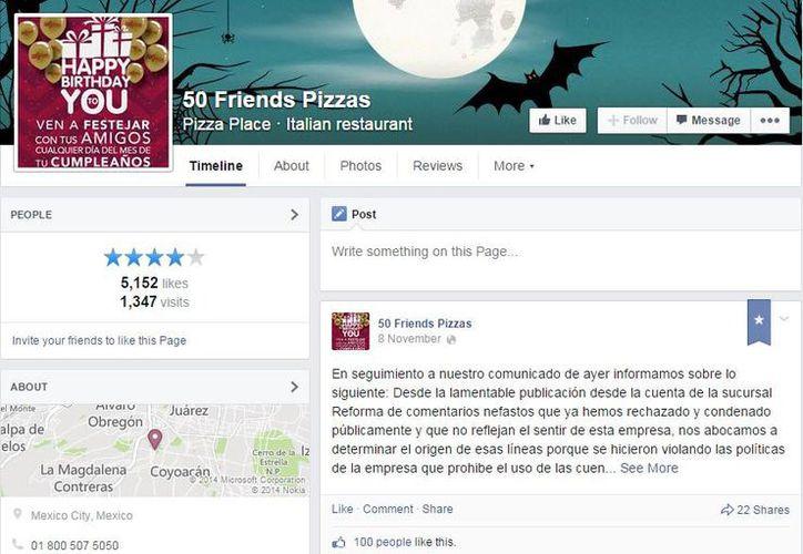 50 Friends recibe en su página de Facebook cientos de comentarios de clientes molestos por los desafortunados comentarios sobre el caso de los 43 normalistas desaparecidos. (Captura de pantalla/Facebook)