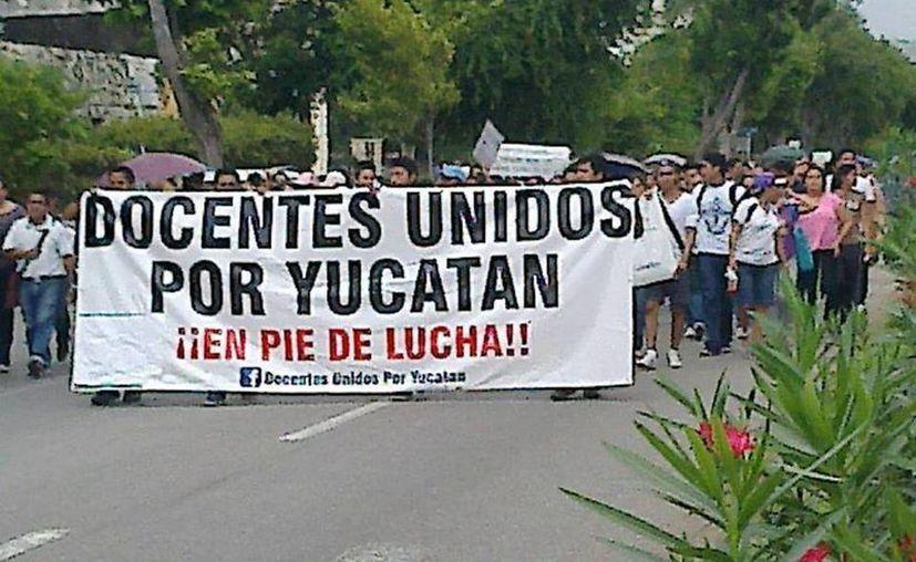 Las protestas magisteriales se realizan desde hace algunas semanas en Yucatán. (SIPSE/Archivo)