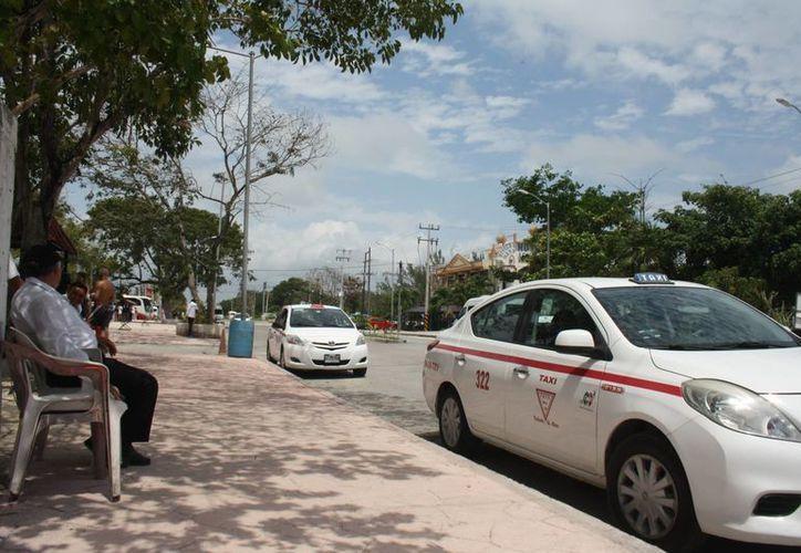 El servicio de taxi permanecerá en la calle, donde los pasajeros tienen que abordar en tanto el operador permanece solo con la protección y sombra de los pocos árboles que aún se conservan. (Sara Cauich/SIPSE)