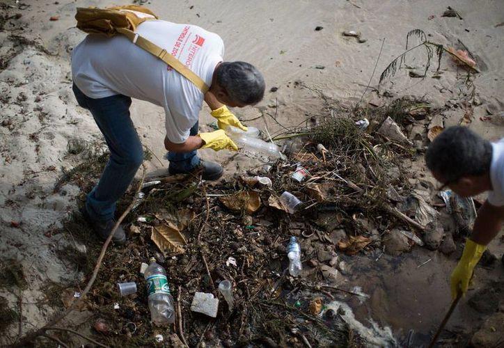 Trabajadores de Salud retiran botellas desechables de un tiradero durante una operación para erradicar potenciales criaderos de mosquitos en Niteroi, Brasil, país que destinó más de un millón de dólares para encontrar una vacuna contra el virus del zika. (AP/Leo Correa)