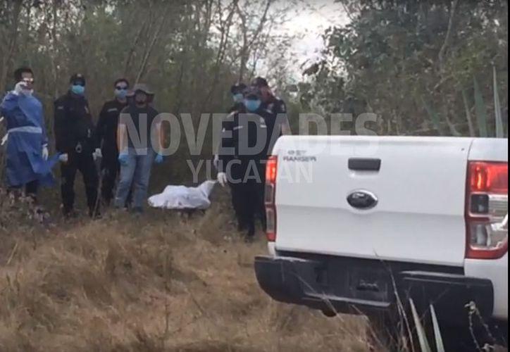 El levantamiento del cadáver en Baca. (Novedades Yucatán)