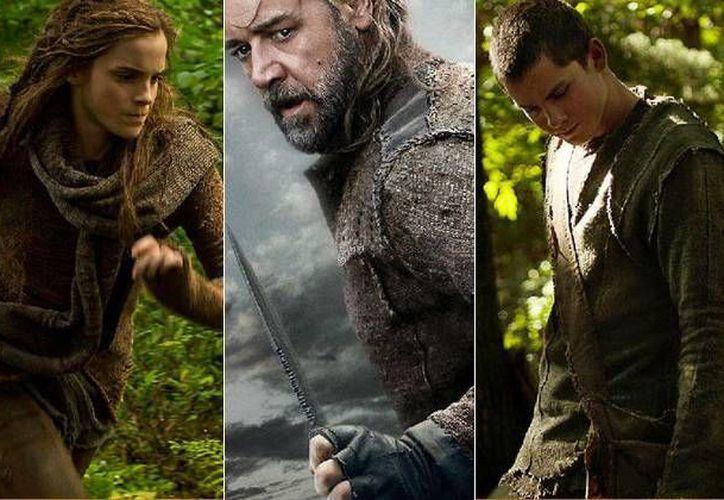 Emma Watson, Russell Crowe y Anthony Hopkins caracterizados como los personajes de 'Noah'. (screencrush.com)