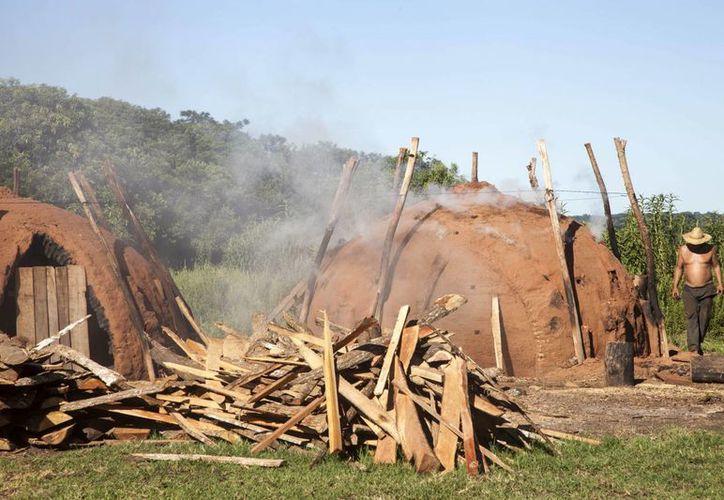 Hombres de campo dejan de cultivar para quemar madera en enormes hornos de arcilla para hacer carbón vegetal, en San Estanislao, Paraguay. (EFE)