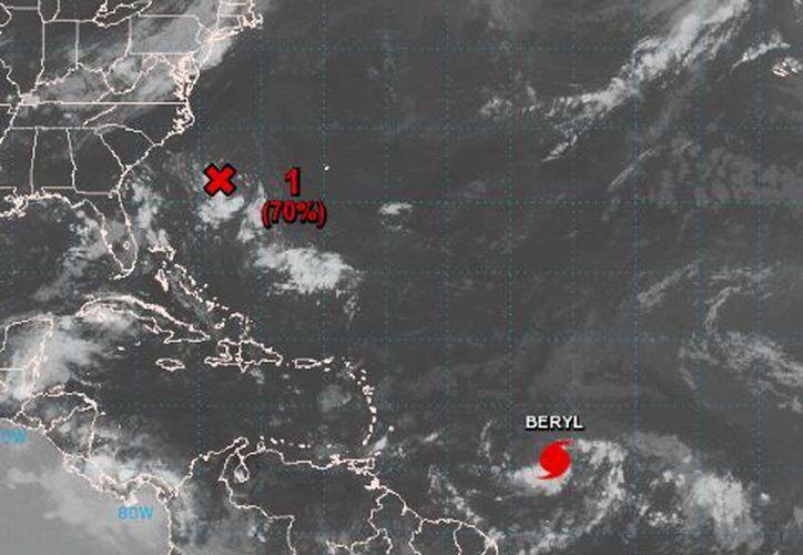 Beryl se encuentra a unas 1.140 millas (1.830 kilómetros) al este-sureste de las Antillas Menores. (NOAA)