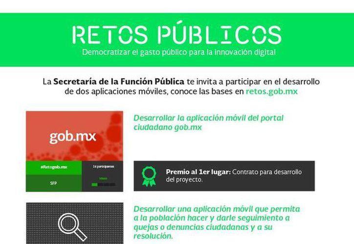 Los detalles de la convocatoria completa puede consultarse en la página retos.gob.mx.(Facebook/SFP)