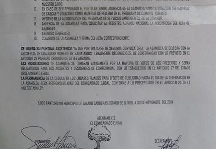 Segunda convocatoria emitida por la directiva ejidal. (Raúl Balam/SIPSE)