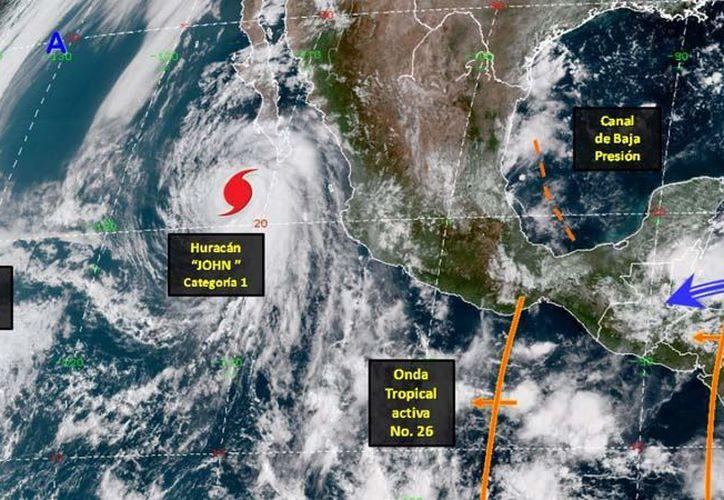 El huracán John perdió fuerza y ahora es categoría 1. (Conagua)