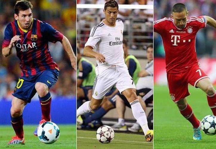 Messi (i) ya ganó el Balón de Oro en cuatro ocasiones, Cristiano (c) una y Ribery nunca. (tuteve.tv)