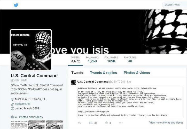 Captura de la página de la cuenta de Twitter del Comando Central de EU., encargado de las operaciones en Irak y Siria, que fue pirateada por un grupo de hackers supuestamente vinculado al Estado Islámico. (EFE)