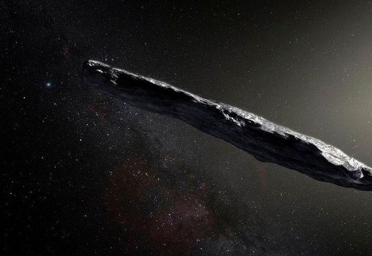 Representación artística del Oumuamua, OVNI captado desde Hawaii. | Imagen: AP