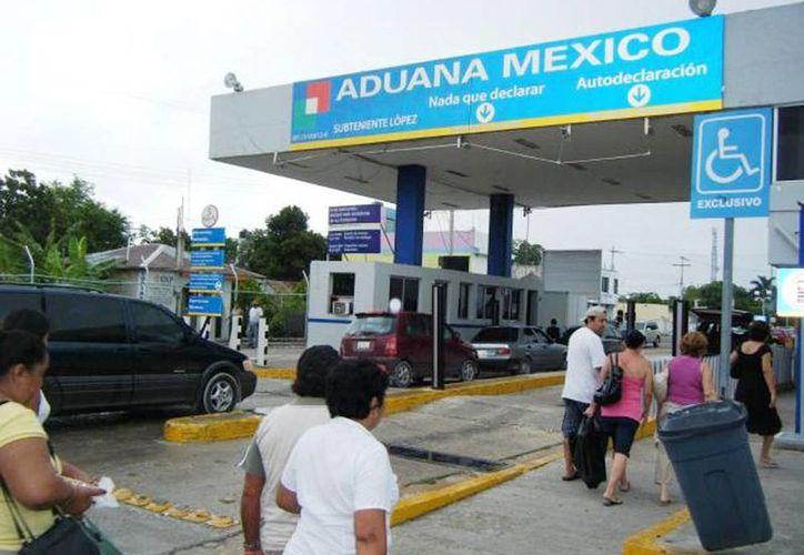 Imagen de la Aduana de México en Subteniente López en Quintana Roo por donde entran algunos extranjeros. (Archivo/SIPSE)