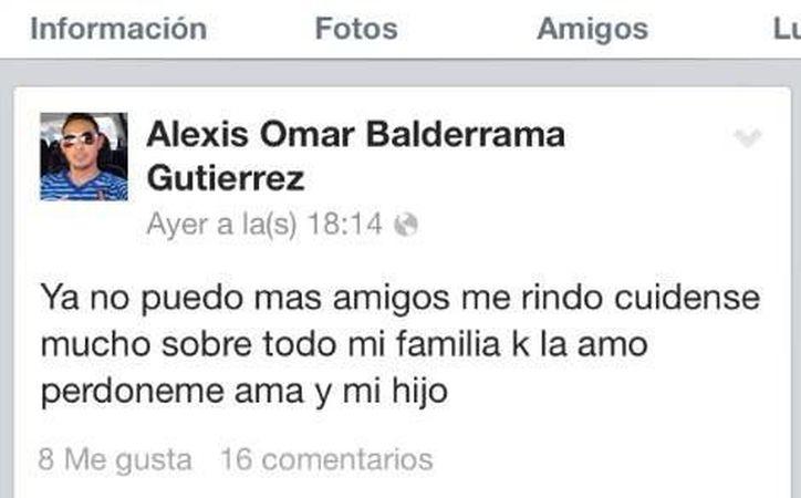 El último mensaje que publicó Alexis Omar antes de dispararse. (Felipe Lario/Milenio)