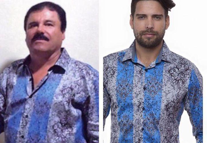 'El Chapo' impone tendencia, ahora también en la moda, tras polémica entrevista con Rolling Stone. En la imagen, usan la misma prenda el narco y un modelo de la empresa. (Tomada del Facebook de Barabas Men)