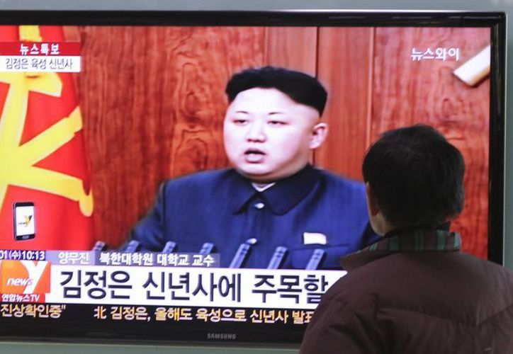 El líder norcoreano, Kim Jong-un, durante su mensaje de Año Nuevo transmitido por televisión. (Agencias)