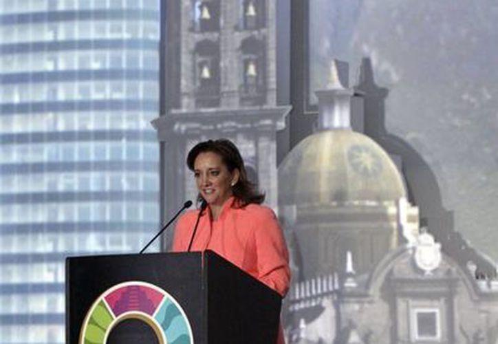 Claudia Ruíz Massieu, Secretaria de Turismo, en la inauguración del Tianguis Turístico de Puebla. (Agencias)