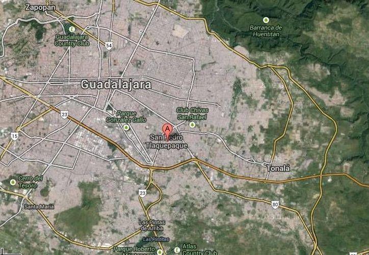 En este mapa se aprecian las tres poblaciones donde ocurrieron los crímenes: Guadalajara, Tlaquepaque y Tonalá. (Google Maps)