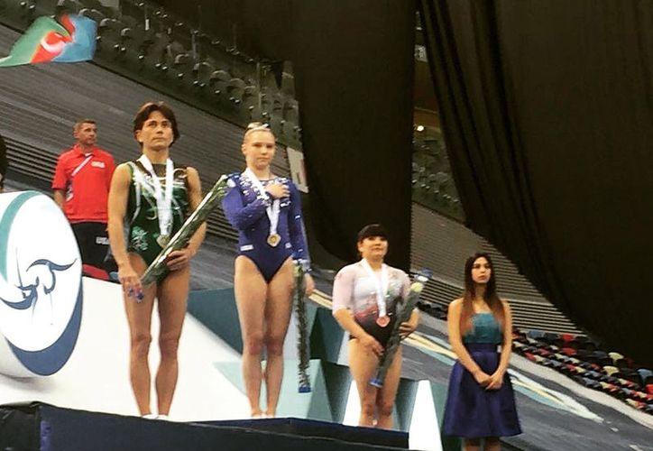 La mexicana se colgó hoy el bronce en la prueba de salto. (Tomada de Twitter)