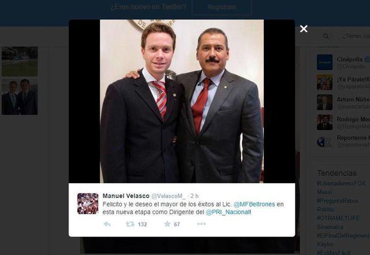 Manuel Velasco se adelantó a la elección interna del PRI y felicitó a Manlio Fabio Beltrones por 'obtener' la dirigencia nacional del partido.  (@VelascoM_)
