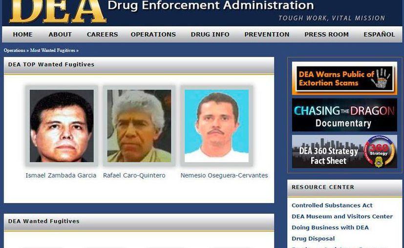 """Captura de pantalla del sitio web de la DEA en cuya sección """"Los más buscados"""" aparecen las imágenes de Ismael El Mayo Zambada, Rafael Caro Quintero y Nemesio Oseguera Cervantes. (www.dea.gov)"""