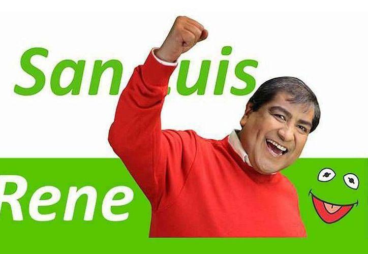 El uso de la imagen de la rana Rene podría causarle problemas legales con Disney al candidato René Díaz González. (tiempo.com.mx)