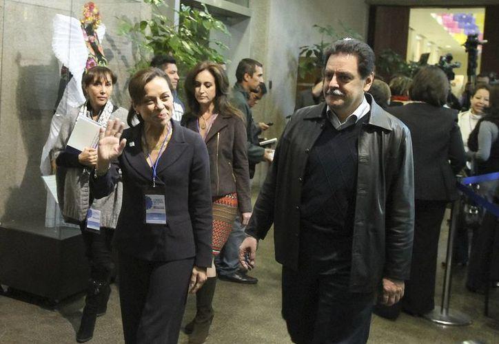 Josefina Vázquez Mota a su llegada a la Asamblea Nacional del PAN. (Notimex)