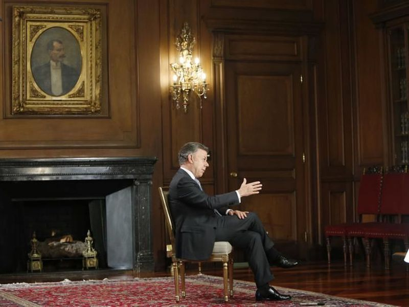 Colombia's P r e s i d e n t Juan Manuel Santos speaks during an interview at the Presidential Palace in Bogota, Colombia.