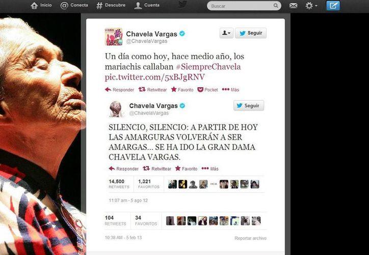 En su último tuit Chavela Vargas habló de la muerte y de su poder como chamana para trascender. (@ChavelaVargas)