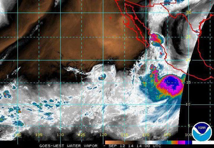 La tormenta tropical 'Odile' propiciará oleaje de hasta 4 metros de altura y vientos con rachas de hasta 60 km/hr en las costas de Guerrero a Nayarit.(ssd.noaa.gov)