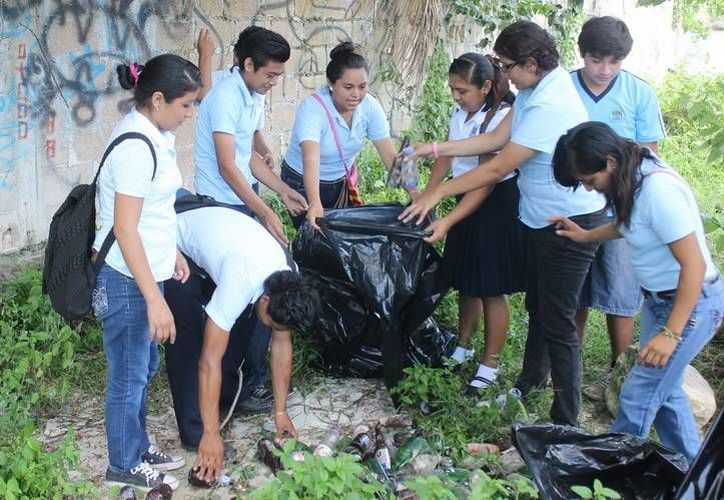 Como parte de las actividades enfocadas al Eje Verde del Plan Quintana Roo 2011-2016, estudiantes bacalarenses participaron en el saneamiento de las áreas naturales del décimo municipio. (Redacción/SIPSE)
