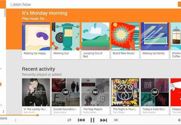 Imagen provista por Google de la nueva función de música ambiental, un servicio de paga que ofrece el buscador de internet a través de Google Play. (Agencias)