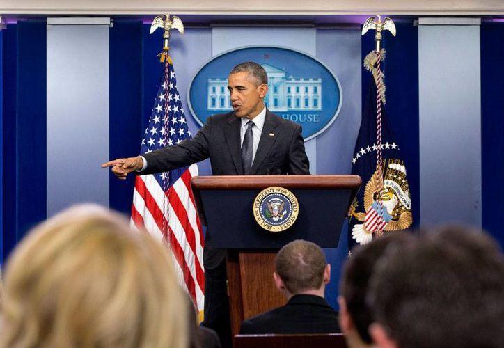 En conferencia de prensa en la Casa Blanca, el presidente de EU, Barack Obama, también se refirió al caso de Panamá Papers. (AP)