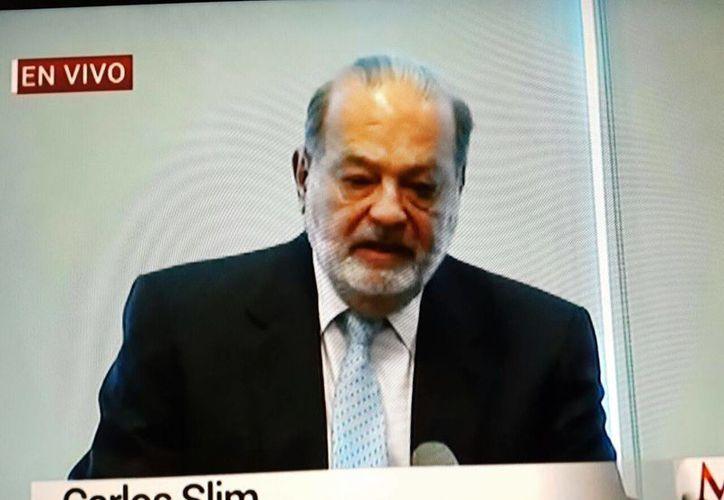El empresario mexicano Carlos Slim, durante la conferencia de prensa que ofreció este viernes 27 de enero de 2016. (Captura de pantalla Milenio Televisión)