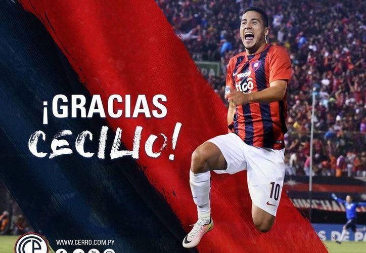 Imagen tomada de la cuenta oficial de Twitter de Cerro Porteño (@CCP1912oficial), con la que despidió a su delantero estrella, Cecilio Domínguez, quien ya está en México para incorporarse a Águilas del América.