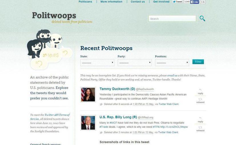 Captura de pantalla del sitio Politwoops, el cual esta dedicado a mostrar los tuit borrados por los políticos. (politwoops.sunlightfoundation.com)
