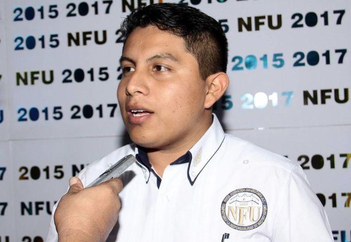 Javier Tun Caamal llega muy motivado a la presidencia de la Nueva Federación Universitaria. (Milenio Novedades)