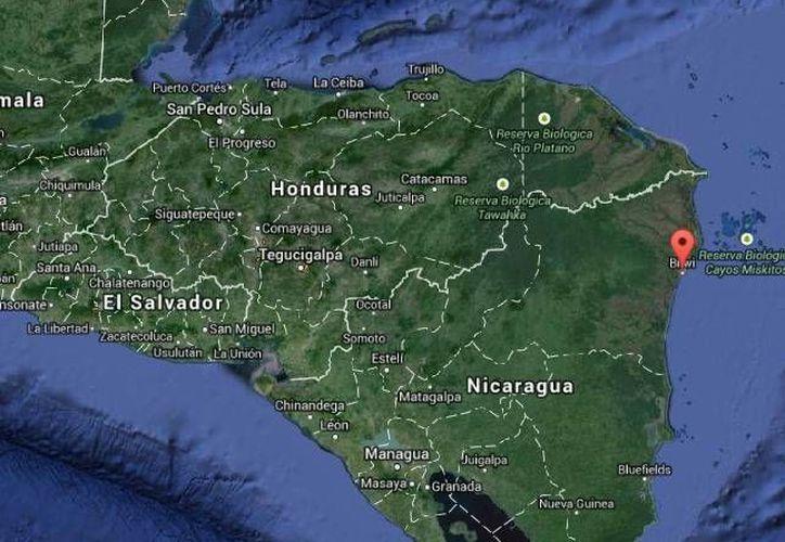 Bilwi (en rosa) es la población más importante de Puerto Cabezas, cerca de donde desaparecieron los pescadores de Nicaragua. (Google Maps)