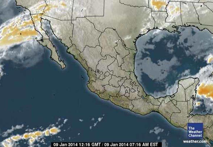 El sistema de alta presión ubicado en el Golfo de México impulsa aire continental polar hacia la Península de Yucatán. (espanol.weather.com)