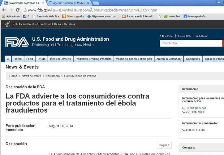 Se ha detectado que a través de Internet se ofertan medicamentos para tratar el ébola. (Redacción/SIPSE)