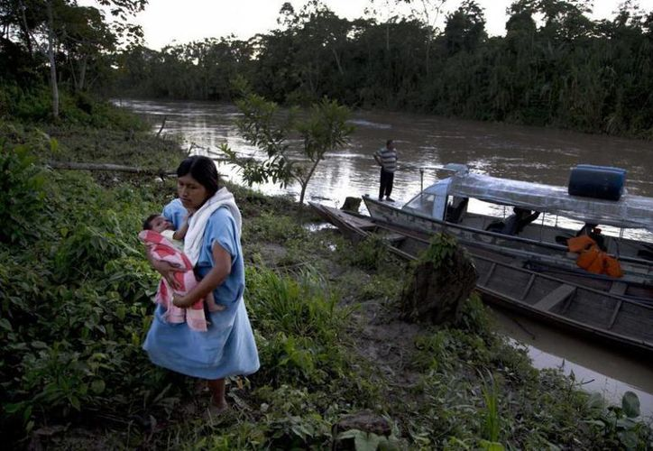 La indígena ashaninka Karen Shawiri, con su bebé en brazos, regresa a su casa luego de acompañar a su marido a pescar en el río Putaya en Saweto, localidad de la Amazonía peruana en la frontera con Brasil. (Agencias)