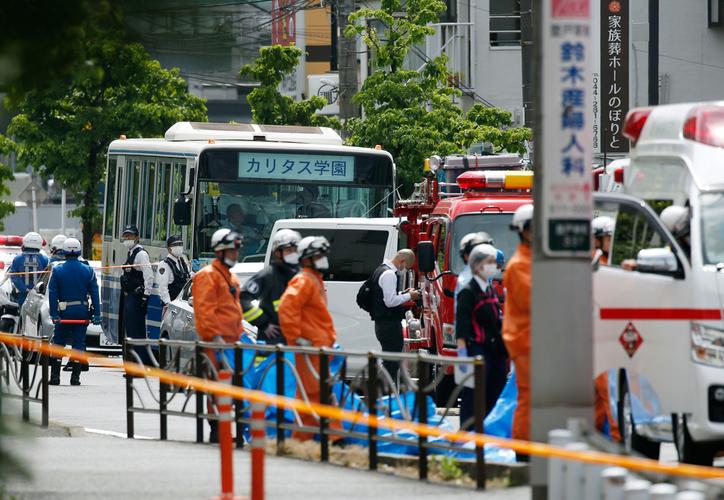 Las víctimas estaban formadas en una parada de autobús cerca del Parque Noborito. (Kyodo News via AP)